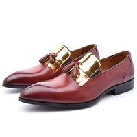 chaussures brogue soldes achat en gros de-Vente chaude Real Black Hommes Chaussures Derby De Luxe En Cuir Véritable Robe Formelle Casual Designer Brogue Oxfords Chaussures JS-A0058