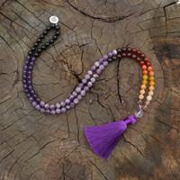 joyas de cuarzo rojo al por mayor-Cristal de cuarzo rojo para el cabello de 8 mm, Collar JapaMala, Joyería de yoga Namaste, Mala de Chakra, Grano de oración budista mala, 108 Cuentas de Mala