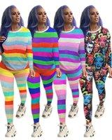 Wholesale outfits sets outwear resale online - Women striped plus size piece set tracksuit sweatsuit t shirt pants sportswear hoodies leggings outfits outwear bodysuit fall clothes