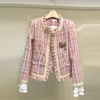 hochwertige damen wollmäntel großhandel-Limiguyue Frauen Anzug Mantel Herbst Winter Runway Designer Plaid Wolle Jacke Tweed Mantel hochwertige Blütenblatt Taste Damen T802
