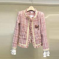 шерстяные пальто высокого качества оптовых-Limiguyue women suit coat autumn winter runway designer plaid wool jacket tweed coat high quality petal button ladies T802