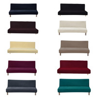 ingrosso coperte di sedia a banchetto blu navy-Copridivano divano nero senza bracciolo universale solido anti-sporco per soggiorno copridivano divano letto copriletto elastico