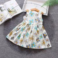 neugeborene mädchen brautkleider großhandel-Säuglingsbabysommerkleid neugeborene Art und Weise ärmellose Druckprinzessinkleiderkleinkindmädchen, die Kleidung für Baby 0-2Y