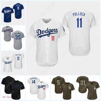 camisas personalizadas para homens venda por atacado-Homens mulheres jovens Majestic Los Angeles AJ Pollock Nome Personalizado e Número Azul Cinza Branco Crianças Meninas Dodgers Camisas de Beisebol