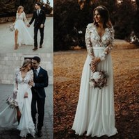 Wholesale bohemian long sleeve chiffon wedding dresses online - 2019 Sexy Summer Bohemian Beach Garden Wedding Dresses A Line Lace Chiffon Front Split Floor Length Bridal Gowns Sheer Crew Neck Cheap