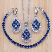 conjuntos de jóias venda por atacado-Azul Zircon Nupcial de Prata 925 Conjuntos de Jóias Mulheres Folha PingenteNecklace Brincos Com Pedras Naturais Pulseiras Caixa de Presente de Jóias
