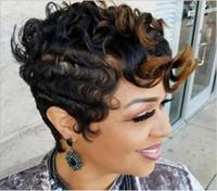 ingrosso piccole parrucche per le donne nere-Parrucca per capelli ad alta temperatura parrucca ad alta temperatura per capelli neri