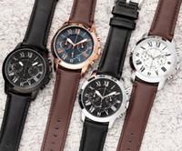 relojes de cronógrafo de cuarzo rey al por mayor-Los mejores hombres de negocios de los EE. UU. Miran todo el puntero trabajo pu correa de cuero cronógrafo cuarzo relojes big bang king relogio reloj de pulsera maestro 1