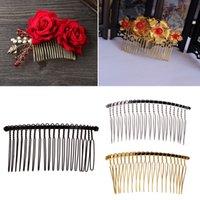 peine de metal al por mayor-DIY en blanco pinzas para el cabello de metal velo de novia peine lateral 20 dientes accesorios para el cabello nupcial
