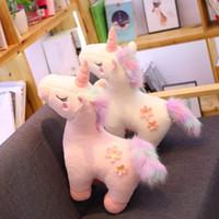 weiße pferdetiere großhandel-Kleines Unicorn Stofftier, White Horse Plüschtier Pony Puppe Geschenke für Kinder Geburtstag, Valentines, Weihnachten