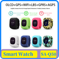 Wholesale watch phone free dhl shipping online – 18x Q50 OLED Kids GPS Watch SOS Call kids Smart Clock Children Wristwatch Finder Locator Tracker Baby Anti Lost Monitor DHL