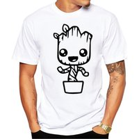 camisetas de dibujos animados pop al por mayor-Nuevos hombres T-Shirt Anime Baby Pop Groot Summer Funny I Am Groot Camiseta Hombre Cartoon Cool Tops Tees Homme Tshirt Wholesale