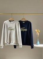 xxl sweater jacket women venda por atacado-19FW Novas crocodilos marcas de luxo de design Embroiderd escovado camisola Hoodies Homens Mulheres externas Streetwear Bordado Jackets