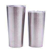 ingrosso tazze a doppia parete-Bicchieri da caffè da 24 once Bicchieri da caffè in acciaio inox Bicchieri da birra a due pareti con coperchio trasparente MMA1906