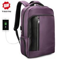 mochila para laptop tigernu venda por atacado-Tigernu carregamento urbano 15.6 polegada laptop mochila macho saco anti-roubo RFID para as mulheres de negócios de viagem da escola de volta