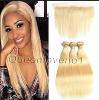 Wholesale double drawn hair resale online - Blonde Brazilian Virgin Hair Bundles with Top Lace Frontal Silky Straight and Boydwave Doudle Drawn Weft With Strong Quality