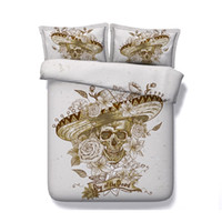 Wholesale skull 3d bedding sets resale online - 3PC Sugar Skull Bedding Duvet Cover Set D Day Of The Dead Printed Bedding Set With Zipper Closure And Pillow Shams