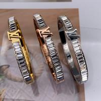 moda cristal rebites venda por atacado-casamento Senhora Diamante Bangles Rivet 316 L Titanium aço inoxidável completa de cristal pulseira pulseiras moda jóias para homens e mulheres 2020 novo