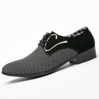 zapatos casuales para hombre dedo gordo al por mayor-Classic man señaló zapatos de vestir lunares para hombre de cuero casuales zapatos de boda oxford formal gran tamaño zapatos hombre