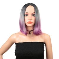 cabelo roxo de 12 polegadas venda por atacado-Moda Hot Popular Pessoa Real Cabelo Feminino Longo Em Linha Reta Cabelo Rosa Roxo 12 Polegada Peruca Set