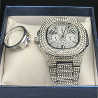 Wholesale glasses hop for sale - Group buy Men Luxury Hip Hop Iced out Diamond Watch Ring Combo Set Diamond Adjustable Ring Rock Rapper Men Jewelry Street Dance Fashion