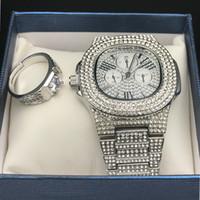 Wholesale blue diamond rings jewelry for sale - Group buy Men Luxury Hip Hop Iced out Diamond Watch Ring Combo Set Diamond Adjustable Ring Rock Rapper Men Jewelry Street Dance Fashion
