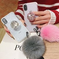 Wholesale fur case for iphone online – custom Fur Ball Bracket Strap Diamond Clear TPU Case for iPhone Pro MAX XR XS X Samsung S8 S9 S10 G Plus S10e Note A10 A30 A50