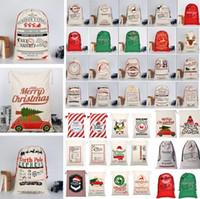 ingrosso albero di natale decorazione palla palla-Nuovi sacchetti regalo natalizi Borsa grande tela pesante organico Borsa sacco cordone sacco Santa con renne Borse sacco Babbo Natale per bambini