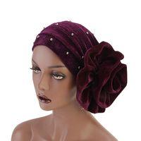 accesorios para el cabello indio al por mayor-Diadema de mujer 2018 New Starry Beads Velvet Gold Sombrero indio Flor musulmana Headwear Gold Velvet Hair Accessories Envío gratis