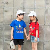 a forma dos miúdos imprimiu camisetas venda por atacado-Moda Verão Meninos meninas Roupas Crianças Designer de Manga Curta T-shirt Crianças Impressão Camisa Do Gato Tops Menino Tees 3-7 Anos