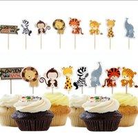 ботинки оптовых-Cupcake Toppers джунглей Животные Baby Shower Birthday Party Украшение для подарка благосклонности 24pcs Cupcake Toppers Drop Доставка