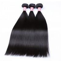 doğal renk insan saçı örgüleri toptan satış-Düz Saç Örgü Demetleri 100% İnsan Saç Demetleri 1 adet Doğal Renk Saç Uzantıları Kıllar Atkı Makyaj
