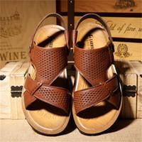 sapatos de couro usados venda por atacado-2019 Summer Leather Dual-uso Sandálias Masculinas Hollow British Beach Shoes