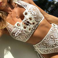 biquíni alto venda por atacado-Jocoo Jolee Preto Branco Rendas Cintura Alta Dois Conjuntos de Mulheres Bikini 2019 Sexy Sólida Push Up Swimwear Terno Beach Wear
