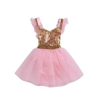 Wholesale wholesalers baby clothing online - Kids sequins Dress Golden Baby glitter Short Sleeve Tulle Party Dresses Floral Print Princess skirt Clothes sets GGA1586