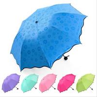 ingrosso ombrello uomini-Pieno ombrello automatico pioggia Donna Uomo 3 pieghevole leggero e durevole 8K forti Ombrelli bambini Rainy Ombrelli di sole 6 colori CCA-11780 30pcs