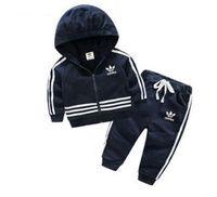 erkek çizgili ceketi toptan satış-Erkek bebek kız çizgili açık spor ilkbahar ve sonbahar ceket çocuk giyim + sweatpants iki parçalı takım elbise ceket