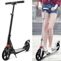 alüminyum scooter'lar toptan satış-Çocuk Yetişkin Kick Scooter Tekerlekleri Ayarlanabilir Alüminyum Alaşım T-Style Tasarım Sağlam Hafif Katlanabilir Ayak Scooter Gümrükleme