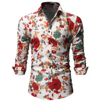 рубашки из полиэстера для мужчин оптовых-Flower Shirts Mens European style hawaii color summer beige printed long sleeve shirt man casual slim  polyester shirts new
