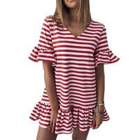 ingrosso abiti casual sexy piacevoli-Summer Mini Dress Sexy Women Black Red Red Striped Vestidos Verano Nice Ruffles Dresses Short Flare Sleeve Abbigliamento casual allentato