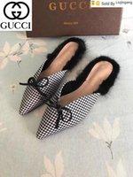 Wholesale sandal material resale online - Liujingang new special material bow fur slippers Casual Handmade Walking Tennis Sandals Slippers Mules Slides Thongs