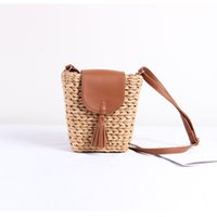 Wholesale vacation packages resale online - New aslant straw bag woven bag female literary small trapezoid shoulder portable joker beach vacation package