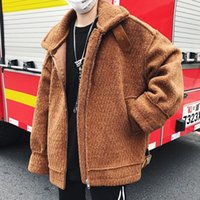 Wholesale thickness coatings resale online - Autumn and winter Man handsome warm wool lamb coating thickness winter jacket casual Male Zippered Pure color splice coat