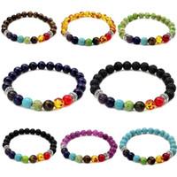 Wholesale turquoise tiger eye bracelet for sale - Group buy 7 Chakra Yoga Beads charm bracelets For Womens Mens Healing Lava Rock Tiger Eye Amber Turquoise Amethyst lapis lazuli Natural Stone Jewelry