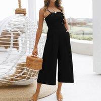 e05cd81332 Hot new 2018 New fashion summerWomen Holiday Sleeveless High Waisted Wide  Leg Summer Beach Jumpsuit