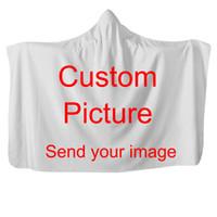 personnaliser la peluche achat en gros de-Personnaliser Dropshipping Couverture 3D à capuchon en peluche imprimée en 3D pour adultes Kid Wearable Fleece Custom Throw Couvertures Lit Sofa