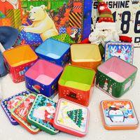 contenedor cuadrado de estaño al por mayor-Mini caja cuadrada de Navidad Contenedores de caramelo de alivio de estaño de metal Cajas de regalos portátiles para niños para suministros de fiesta 2 3im E1