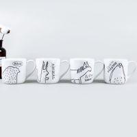 xícaras de café de animais venda por atacado-Copos De Água De Cerâmica branca Oculta Mundo Farm Animal Xícaras De Café Handmade Caneca com Alça de Alta Qualidade E Iexpensive Originalidade 8 mlA1
