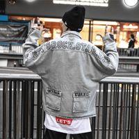 graue jeansjacke männer großhandel-Lets Rock Jeans Jacke Herren 2019 New Fashion Denim Herren Grau Jacke Hip Hop Jacken Streetwear Bekleidung