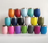 taza en forma de vidrio al por mayor-Vasos en forma de huevo de 12 oz Vaso de vino Vaso de acero inoxidable Stemless Botella de agua doble Tazas de café con tapas transparentes Muchos colores